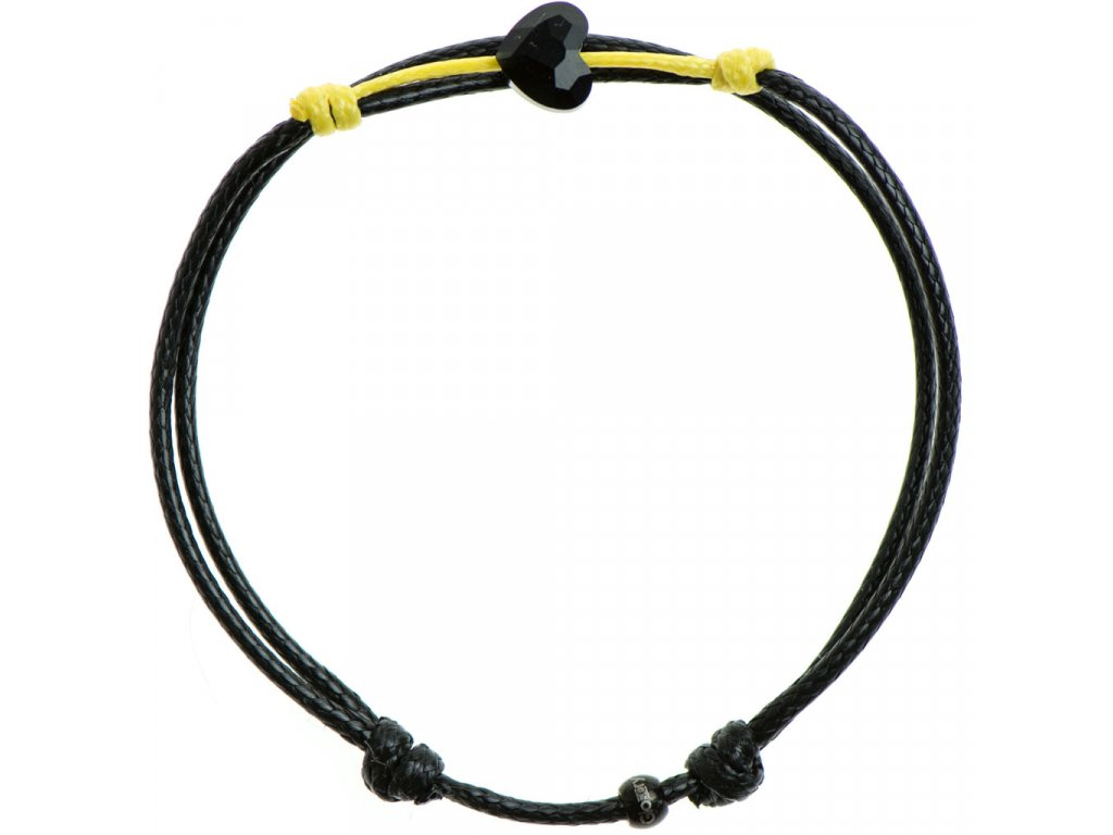 Šnúrkový Glosery náramok s lesknúcim krištáľom v tvare mini srdiečka od Swarovski®, mini šnúrka 1mm, čierna šnúrka 1,5mm