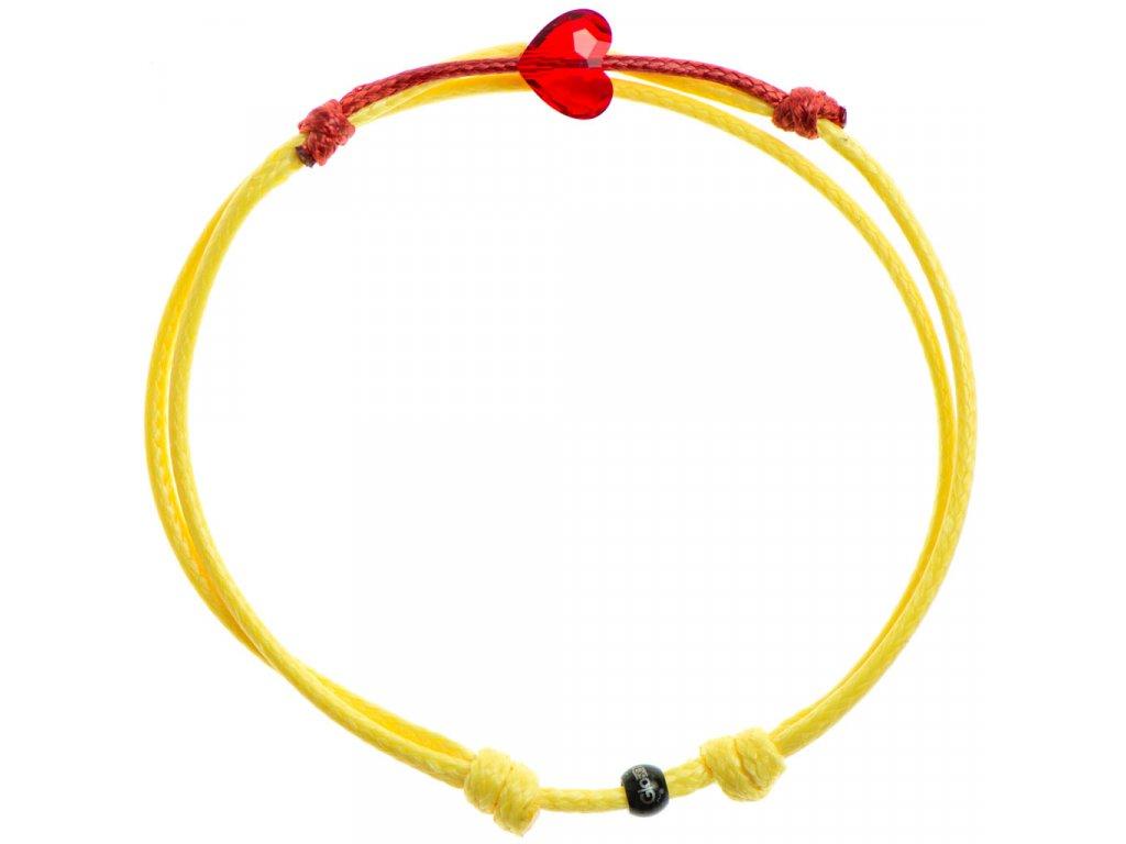 Šnúrkový Glosery náramok s lesknúcim krištáľom v tvare mini srdiečka od Swarovski®, mini šnúrka 1mm, žltá šnúrka 1,5mm