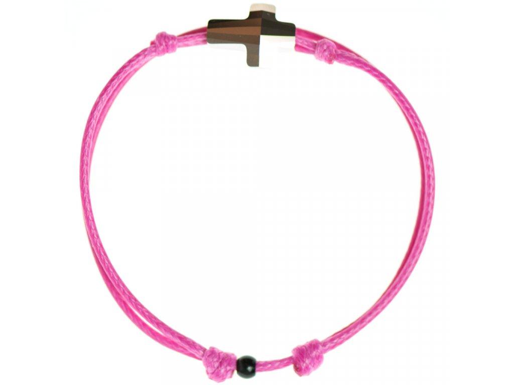 Šnúrkový Glosery náramok s lesknúcim krištáľom v tvare krížika od Swarovski®, mini šnúrka 1mm, ružová šnúrka 1,5mm