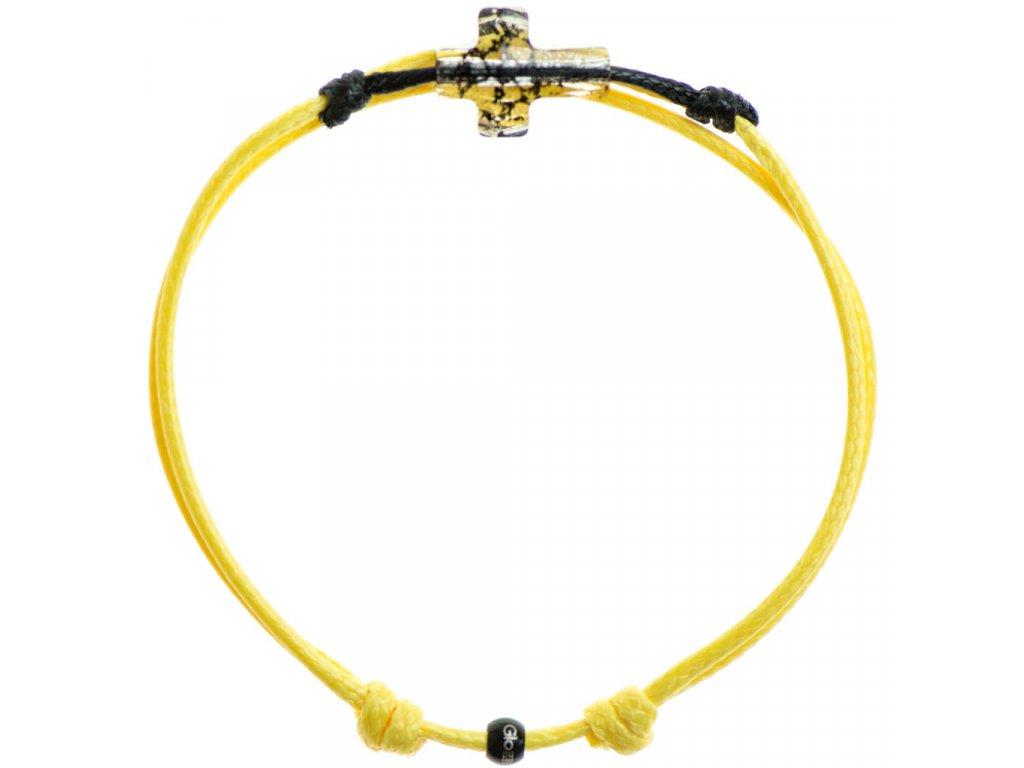 Šnúrkový Glosery náramok s lesknúcim krištáľom v tvare krížika od Swarovski®, mini šnúrka 1mm, žltá šnúrka 1,5mm