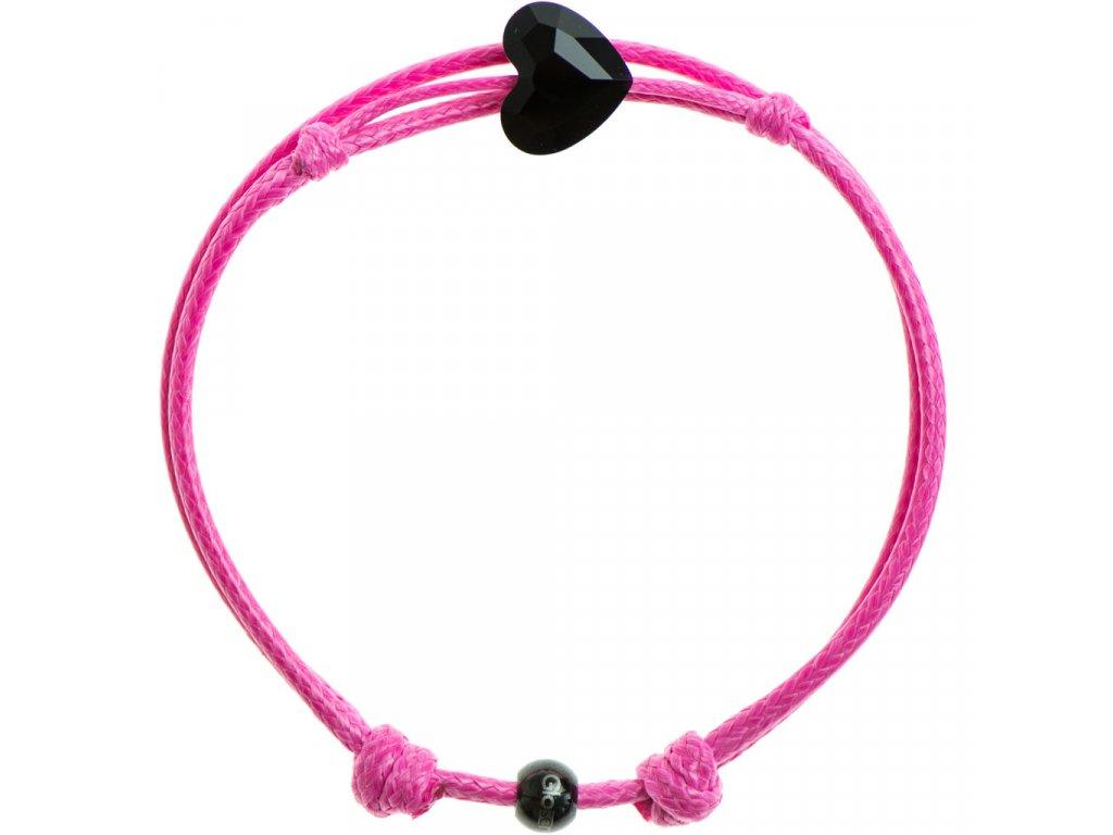 Šnúrkový Glosery náramok s lesknúcim krištáľom v tvare srdca od Swarovski®, mini šnúrka 1mm, ružová šnúrka 1,5mm