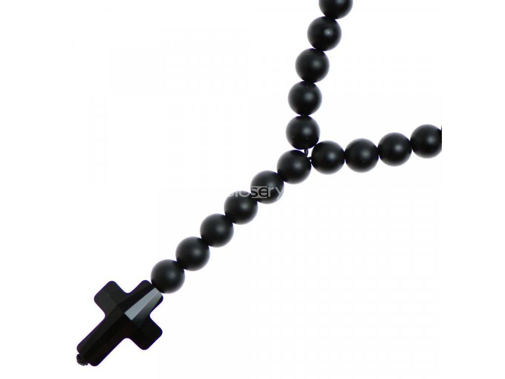 Glosery náhrdelník v tvare ruženca s lesknúcim krížikom od Swarovski®, lesklý / matný čierny achát, tigrie oko, howlite 6-8mm