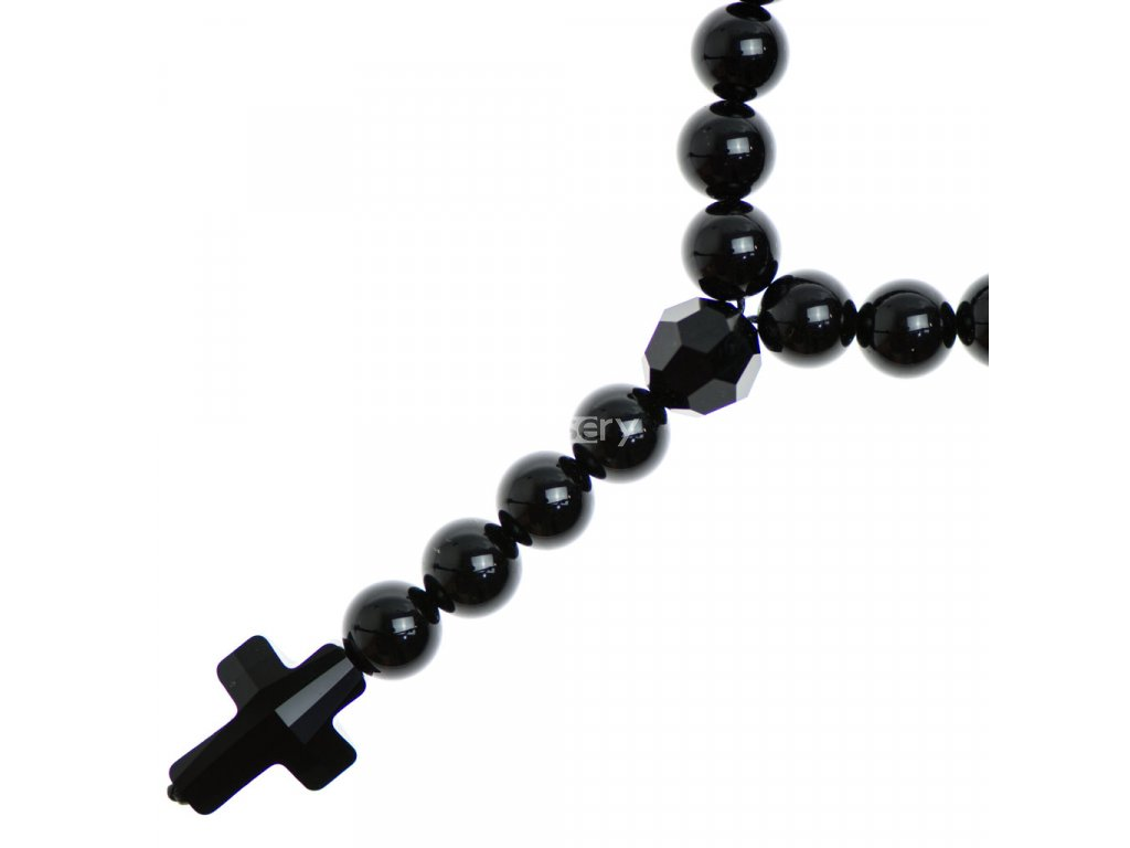 Glosery náhrdelník v tvare ruženca s lesknúcim krížikom od Swarovski®, lesklý / matný čierny achát 6-8mm