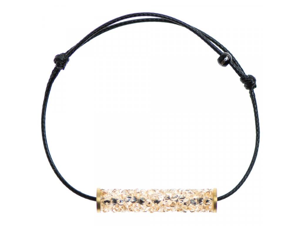 Šnúrkový Glosery náramok, valček s lesknúcími krištáľmi od Swarovski®, šnúrka 1mm