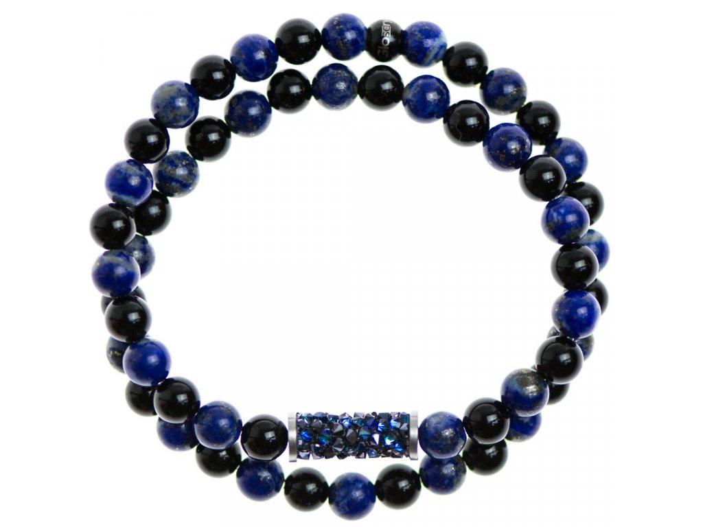 Glosery wrap náramok zdobený krištáľmi od Swarovski®, lapis lazuli a lesklý / matný čierny achát 6-8mm