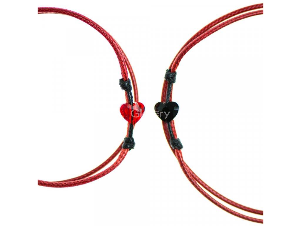 Partnerský šnúrkový Glosery náramok s lesknúcim krištáľom v tvare mini srdiečka od Swarovski®, mini šnúrka 1mm, červená šnúrka 1,5mm