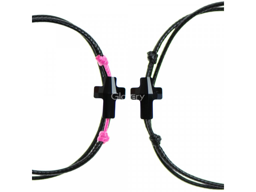 Partnerský šnúrkový Glosery náramok s lesknúcim krištáľom v tvare krížika od Swarovski®, mini šnúrka 1mm, čierna šnúrka 1,5mm
