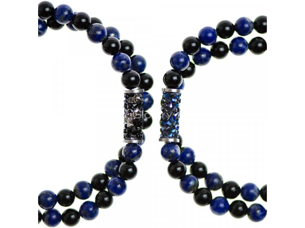 Partnerský Glosery wrap náramok zdobený krištáľmi od Swarovski®, lapis lazuli a lesklý / matný čierny achát 6-8mm