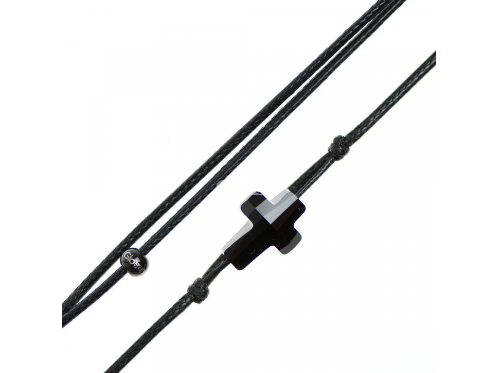 Šnúrkový Glosery náhrdelník s lesknúcim krištáľom v tvare krížika od Swarovski®, mini šnúrka 1mm, čierna šnúrka 1,5 a 2mm