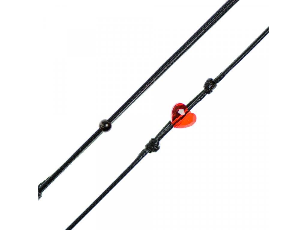 Šnúrkový Glosery náhrdelník s lesknúcim krištáľom v tvare srdiečka od Swarovski®, mini šnúrka 1mm, čierna šnúrka 1,5 a 2mm