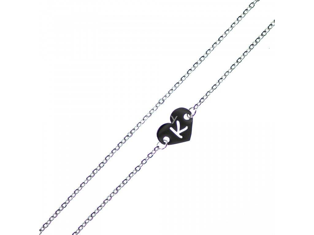 Minimalistický Glosery náhrdelník so srdiečkom s iniciálami, chirurgická oceľ 1,5mm