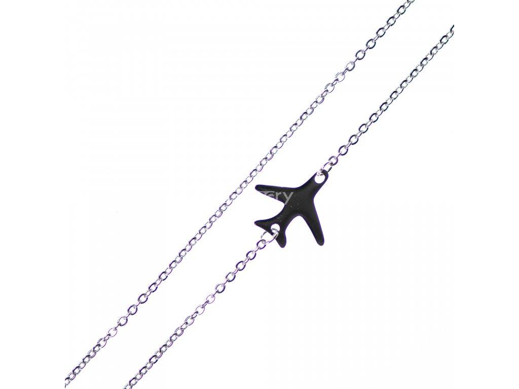 Minimalistický Glosery náhrdelník s lietadielkom, chirurgická oceľ 1,5mm