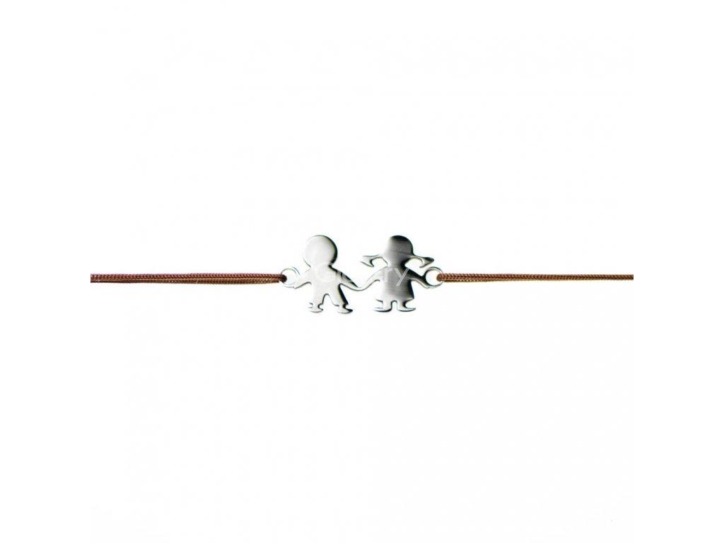 Šnúrkový minimalistický Glosery náramok DETI, chirurgická oceľ, šnúrka 1mm