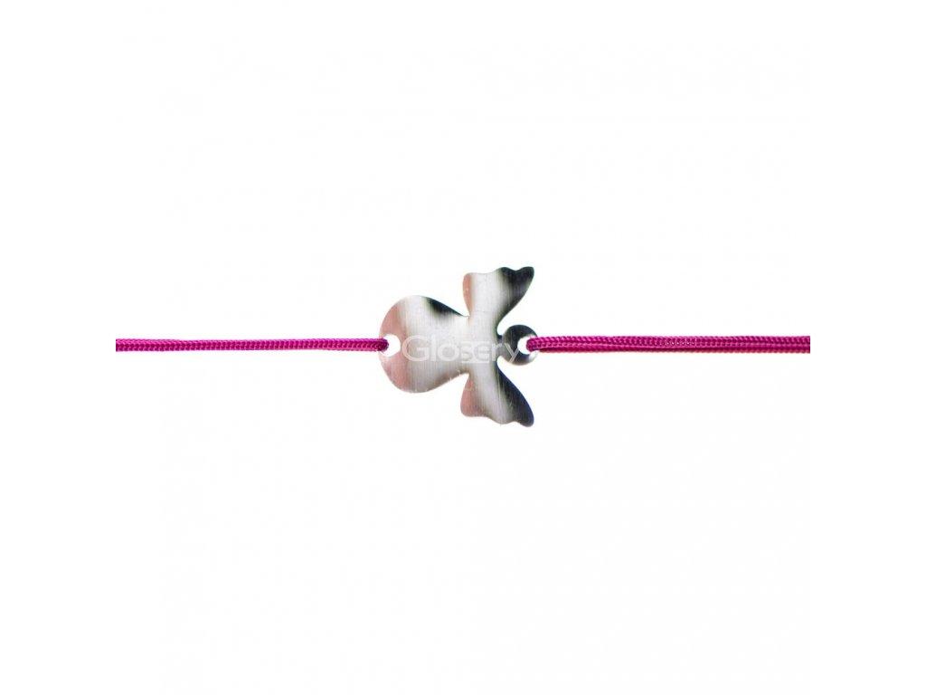 Šnúrkový minimalistický Glosery náramok Anjelik, chirurgická oceľ, šnúrka 1mm