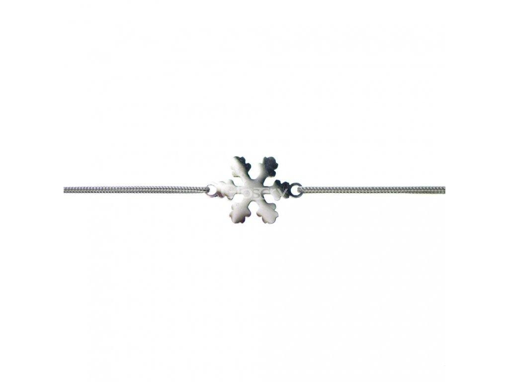 Šnúrkový minimalistický Glosery náramok Snehová vločka, chirurgická oceľ, šnúrka 0,8mm