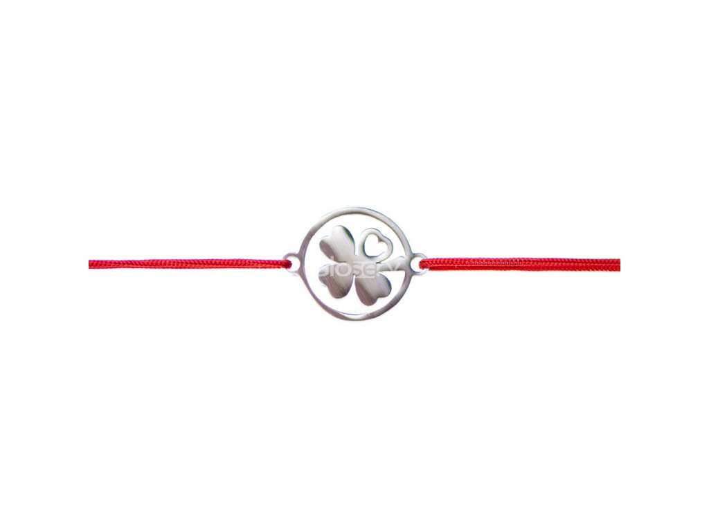 Šnúrkový minimalistický Glosery náramok Štvorlístok, chirurgická oceľ, šnúrka 0,8mm