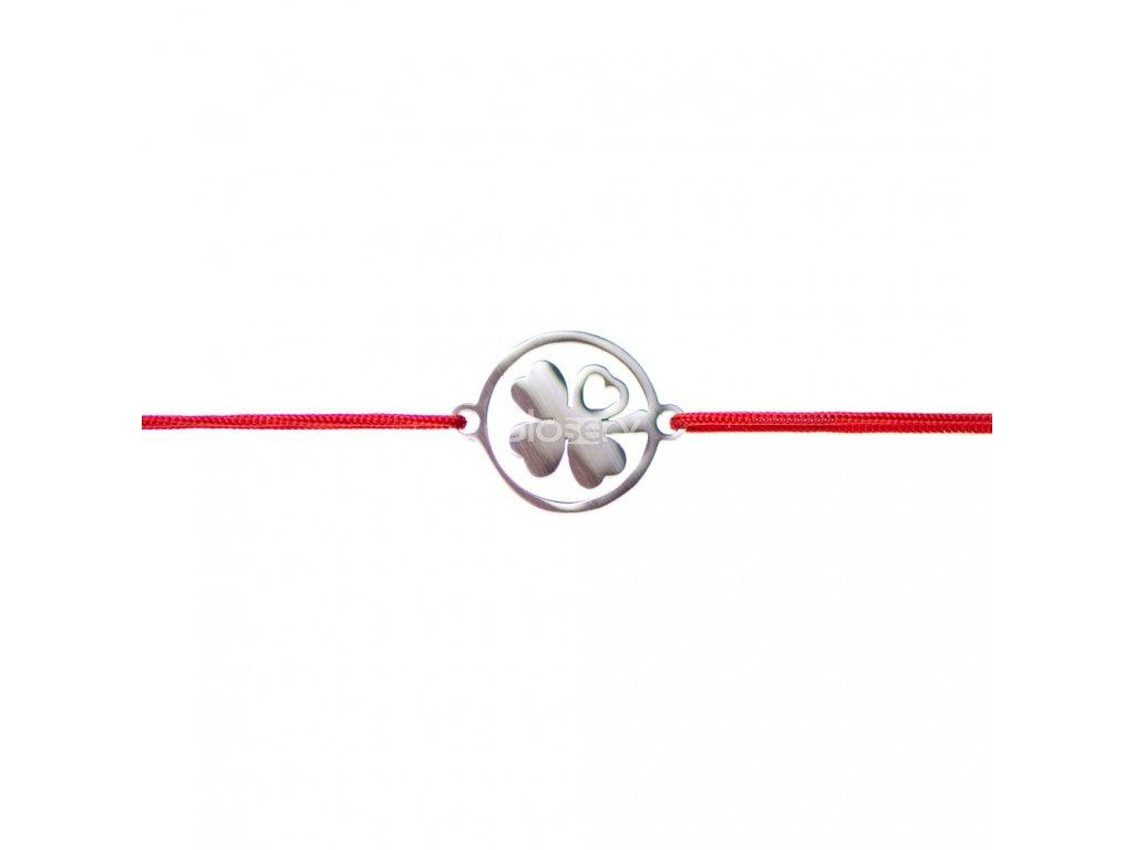 Šnúrkový minimalistický Glosery náramok Štvorlístok, chirurgická oceľ, šnúrka 01mm