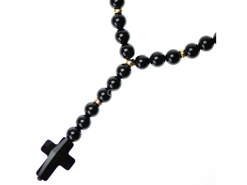 Glosery náhrdelník v tvare ruženca s lesknúcim krížikom od Swarovski®, stopery, matný / lesklý achát, tigrie oko a howlite 6mm