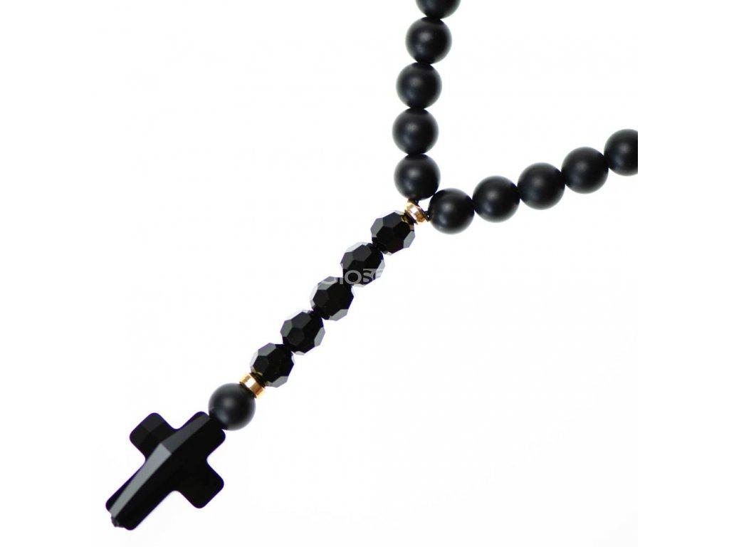 Luxusný Glosery náhrdelník v tvare ruženca s lesknúcim krížikom a disko guľami od Swarovski®, stopery, lesklý / matný čierny achát 6-8mm
