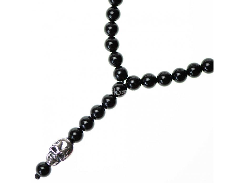 Glosery náhrdelník s lebkami z chir. ocele, matný / lesklý achát 6-8mm