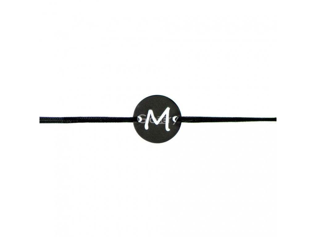 Šnúrkový minimalistický Glosery náramok s iniciálami, chirurgická oceľ, šnúrka 1mm