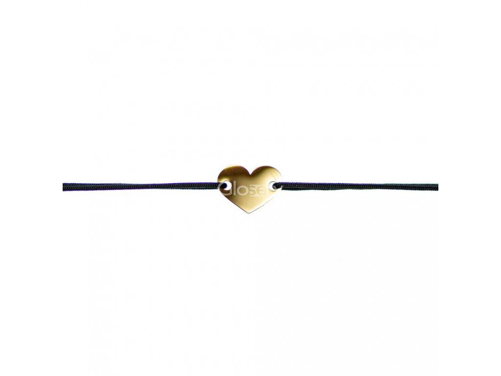 Šnúrkový minimalistický Glosery náramok so srdiečkom, chirurgická oceľ, šnúrka 0,8mm