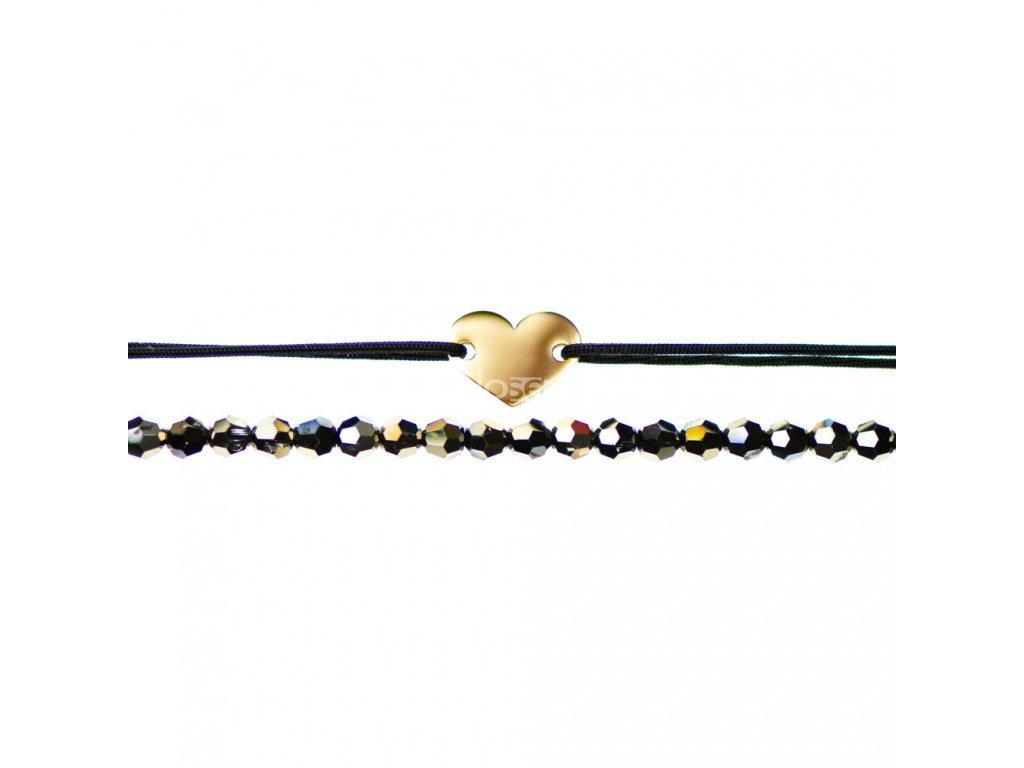 Luxusný set dvoch Glosery náramkov Mini srdiečko a krištále od Swarovski® 4mm, chirurgická oceľ, šnúrka 0,8mm