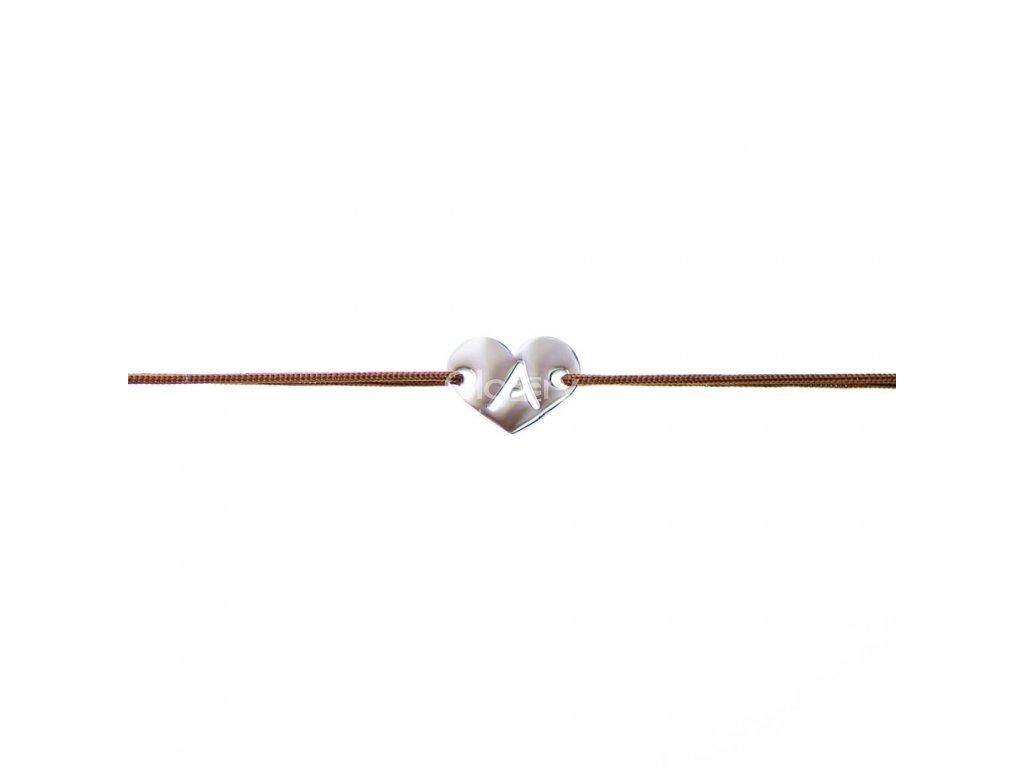 Šnúrkový minimalistický Glosery náramok Srdiečko s iniciálami, chirurgická oceľ, šnúrka 0,8mm