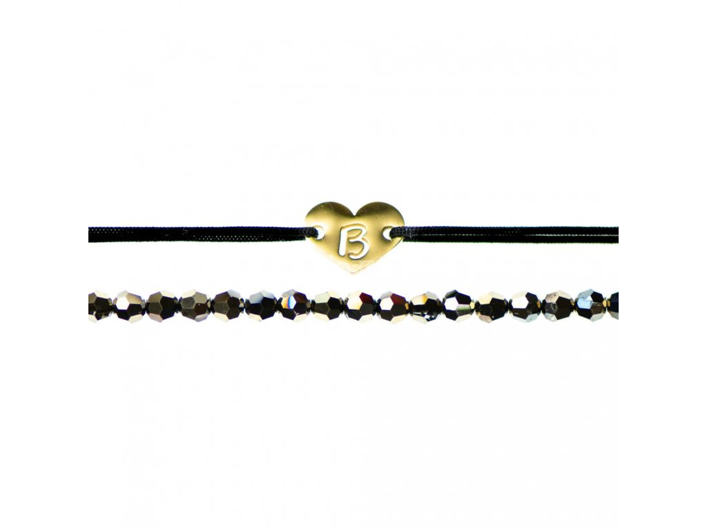 Luxusný set dvoch Glosery náramkov Srdiečko s iniciálami a krištále od Swarovski® 3mm, chirurgická oceľ, šnúrka 0,8mm
