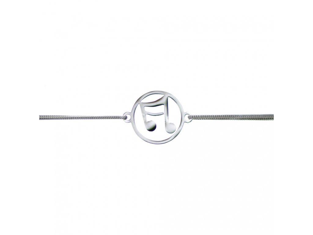 Šnúrkový minimalistický Glosery náramok s notou, chirurgická oceľ, šnúrka 0,8mm