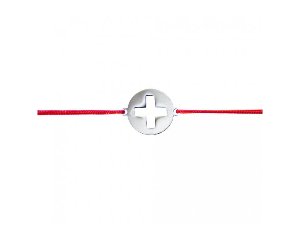 Šnúrkový minimalistický Glosery náramok s krížikom, chirurgická oceľ, šnúrka 0,8mm