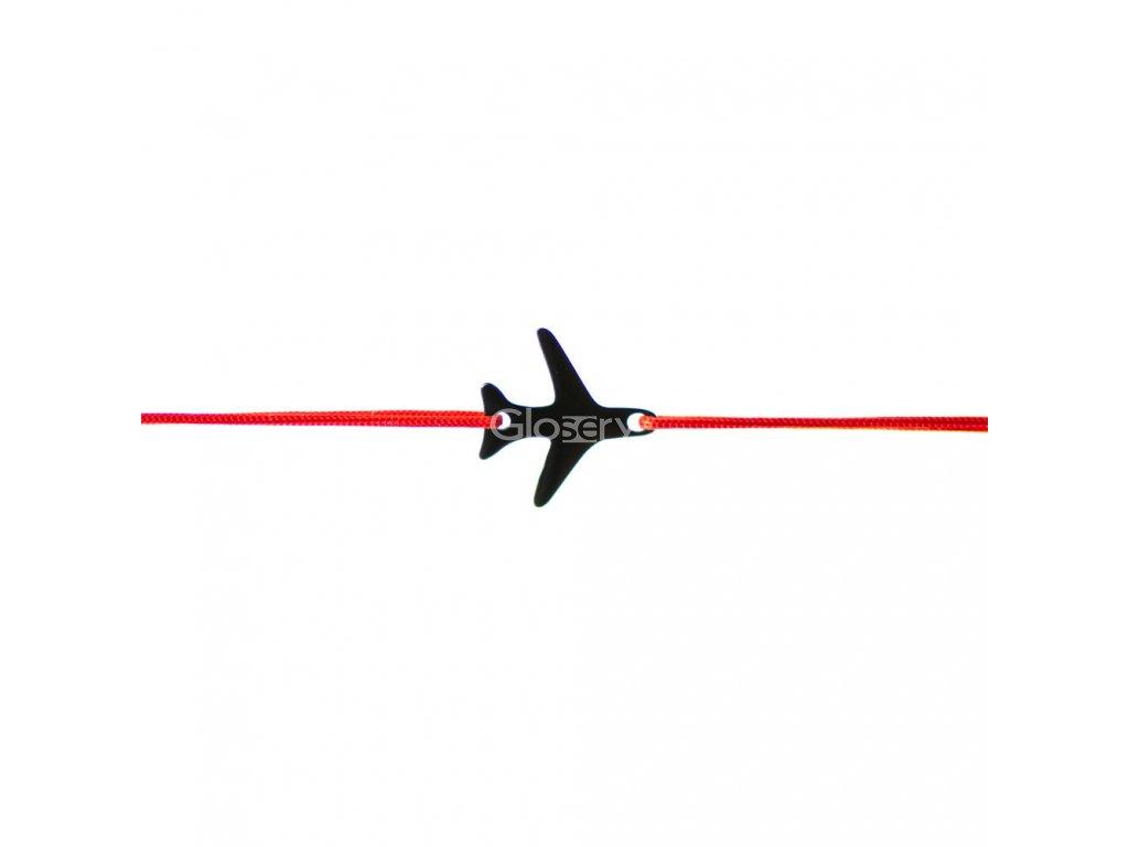 Šnúrkový minimalistický Glosery náramok s lietadielkom, chirurgická oceľ, šnúrka 0,8mm