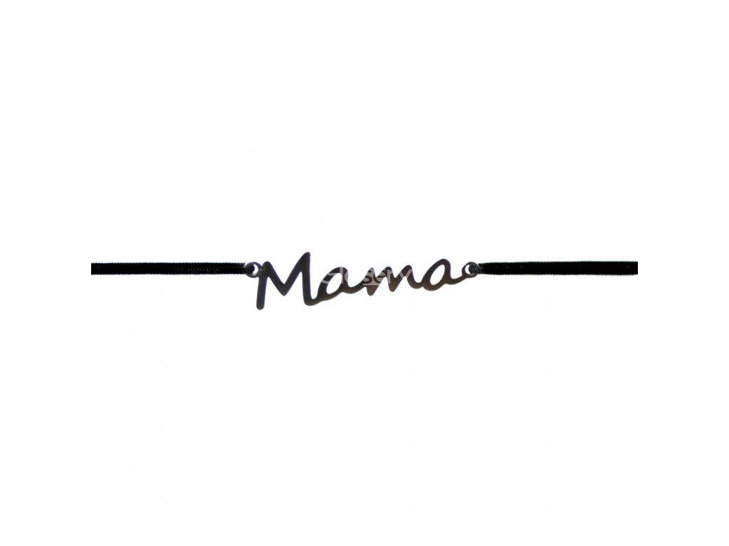 Šnúrkový minimalistický Glosery náramok s nápisom Mama, chirurgická oceľ, šnúrka 0,8mm