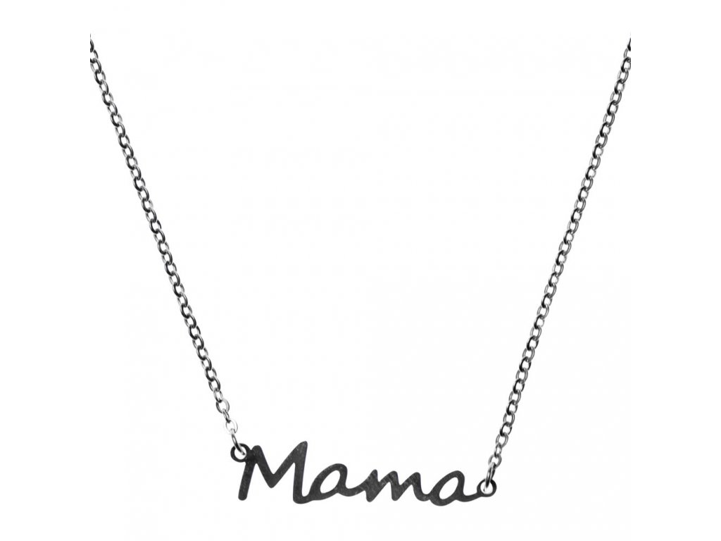 Minimalistický Glosery náhrdelník s nápisom Mama, chirurgická oceľ 1,5mm
