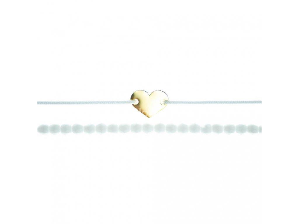 Luxusný set dvoch Glosery náramkov Mini srdiečko a biele krištále od Swarovski® 4mm, chirurgická oceľ, šnúrka 1mm