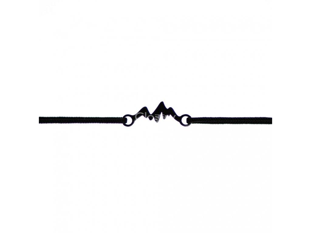 Šnúrkový minimalistický Glosery náramok s horami, chirurgická oceľ, šnúrka 1mm