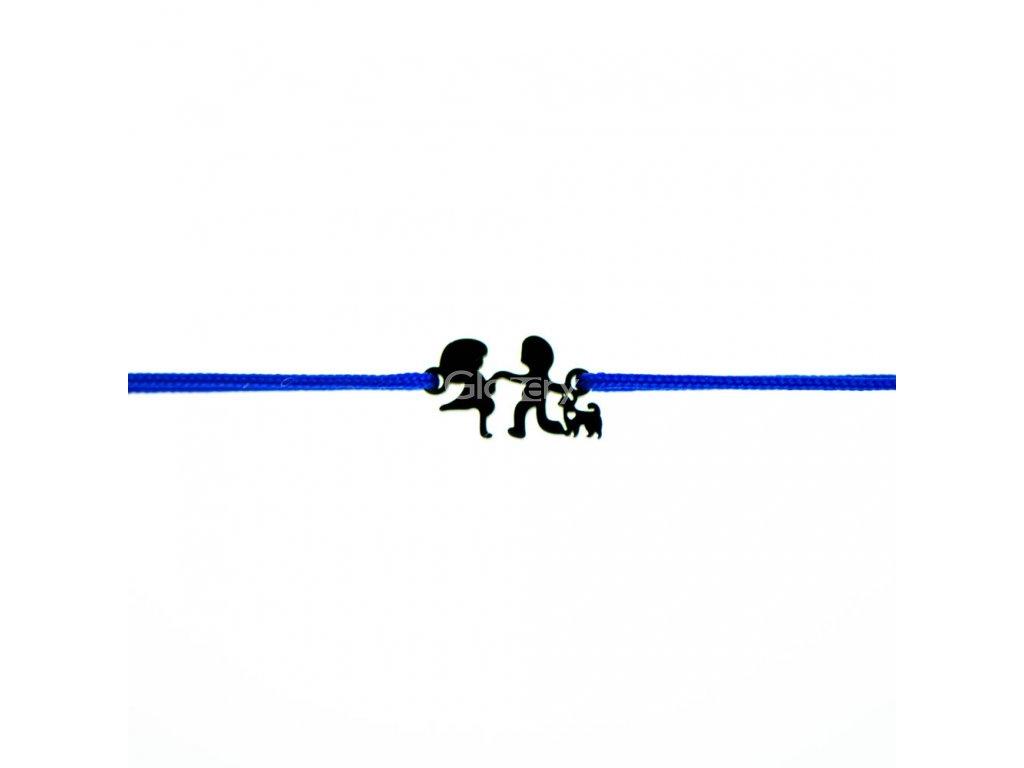 Šnúrkový minimalistický Glosery náramok DETI a PES, chirurgická oceľ čierna, šnúrka 1mm