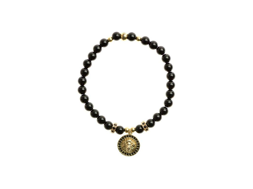 Lev s čiernymi zirkónmi, korálky z chirurgickej ocele, zirkónové stopery, lesklý čierny achát 6mm