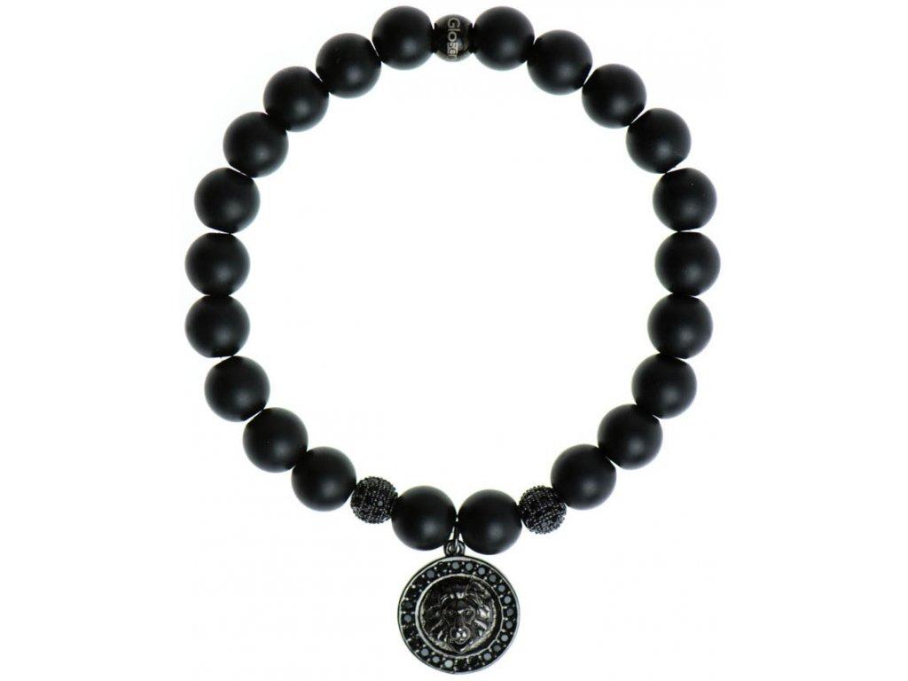 Lev s čiernymi zirkónmi, zirkónové disko gule, matný / lesklý čierny achát 8mm