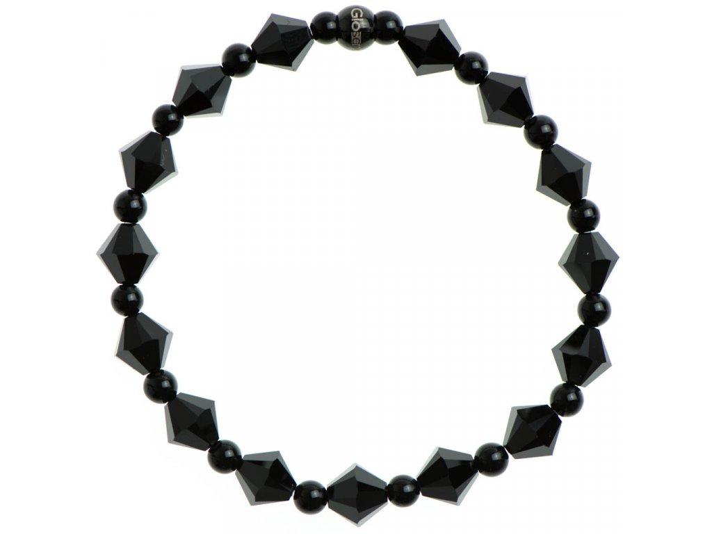 Glosery náramok zdobený krištáľmi Swarovski®, čierny korálok z chirurgickej ocele, lesklý čierny achát 4mm