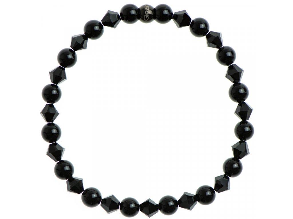 Glosery náramok zdobený krištáľmi Swarovski®, čierna korálka z chirurgickej ocele, lesklý čierny achát 6mm