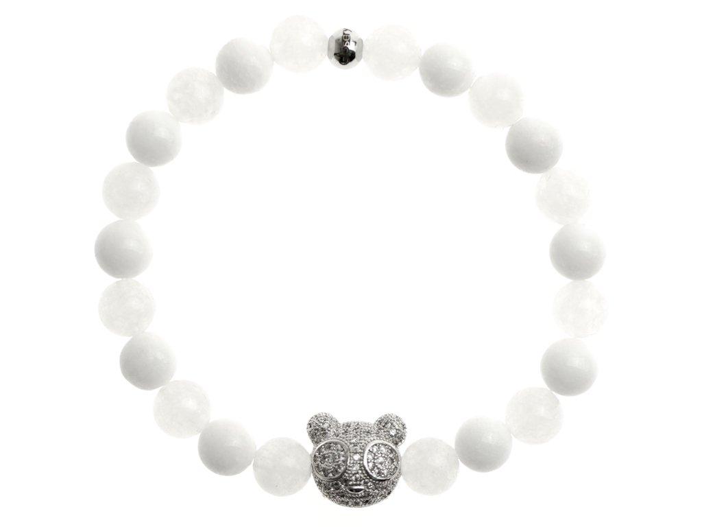 zirkonovy medvedik biely jadeit a porcelan 8mm