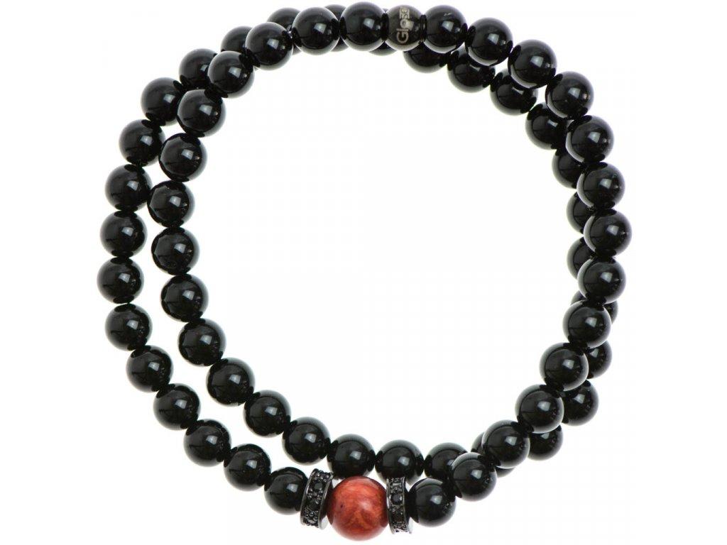 Wrap náramok, stopery so zirkónmi, červený korál a lesklý čierny achát 6mm