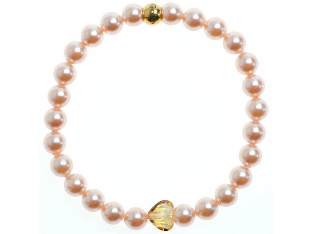 Glosery náramok s lesknúcim krištáľom v tvare srdca od Swarovski®, perly od Swarovski® 6mm