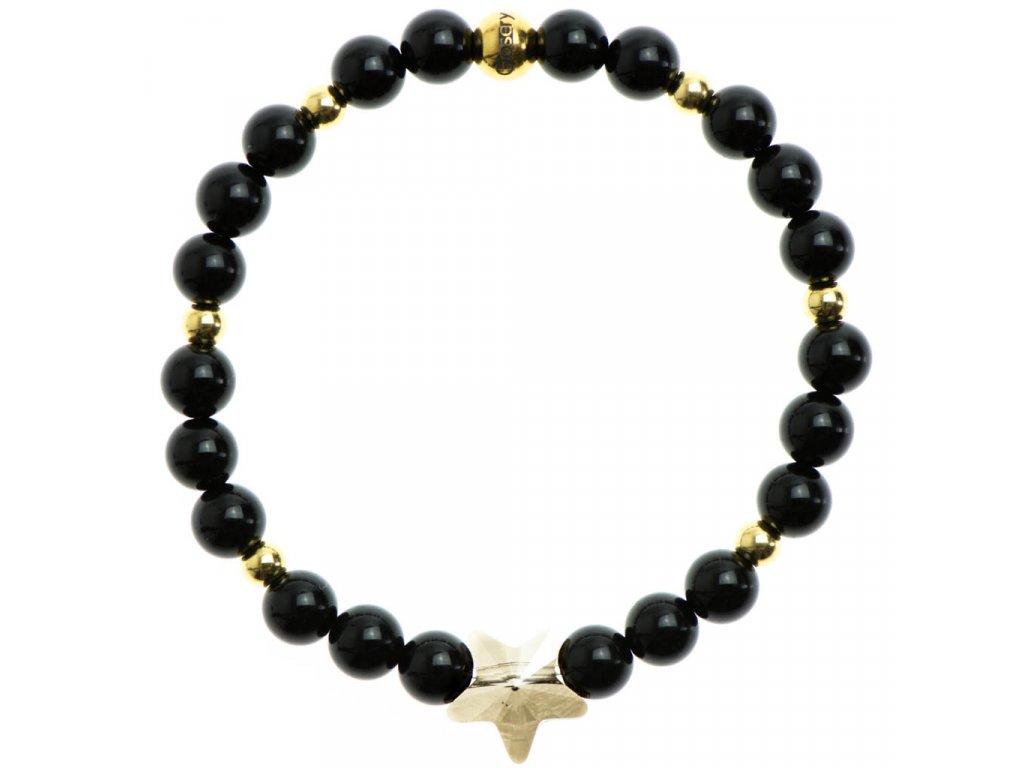 Glosery náramok s lesknúcim krištáľom v tvare hviezdy od Swarovski®, stopery, stopery, lesklý čierny achát 6mm