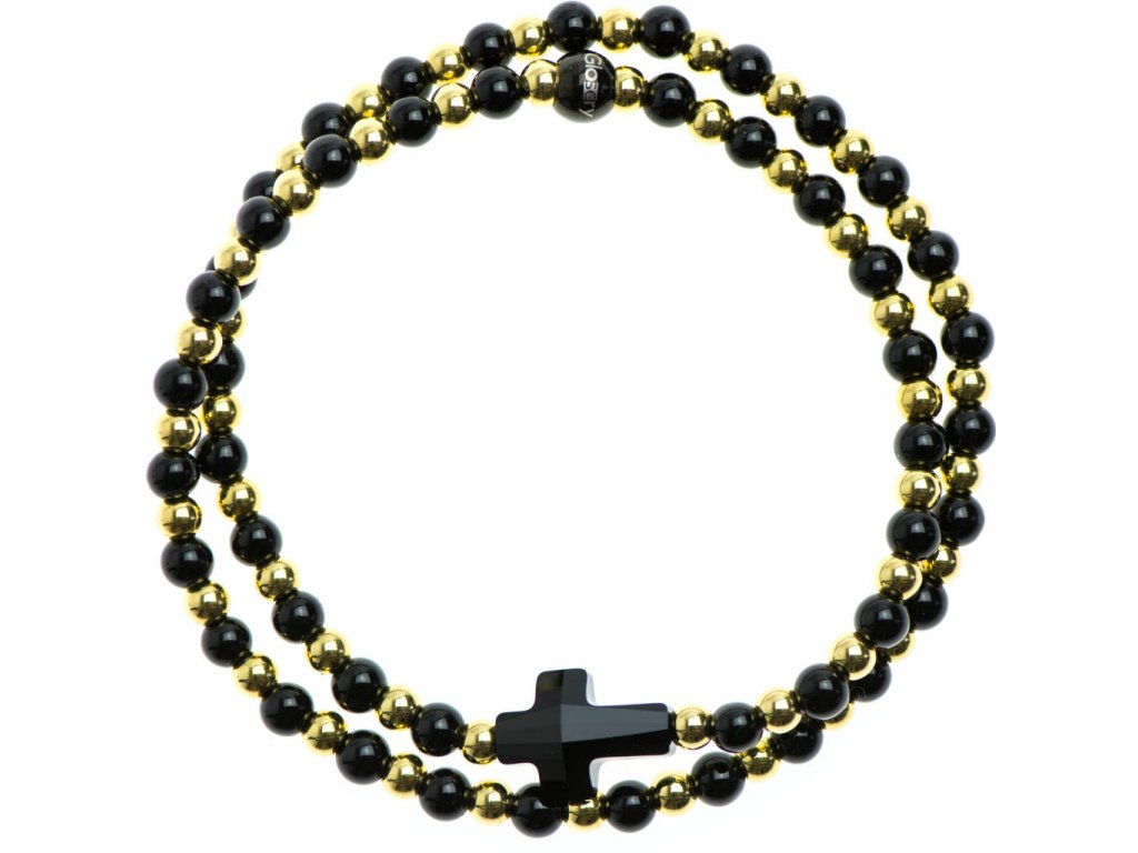 Glosery wrap náramok zdobený krištáľom Swarovski® v tvare krížika, korálky z chir. ocele a lesklý čierny achát 4mm