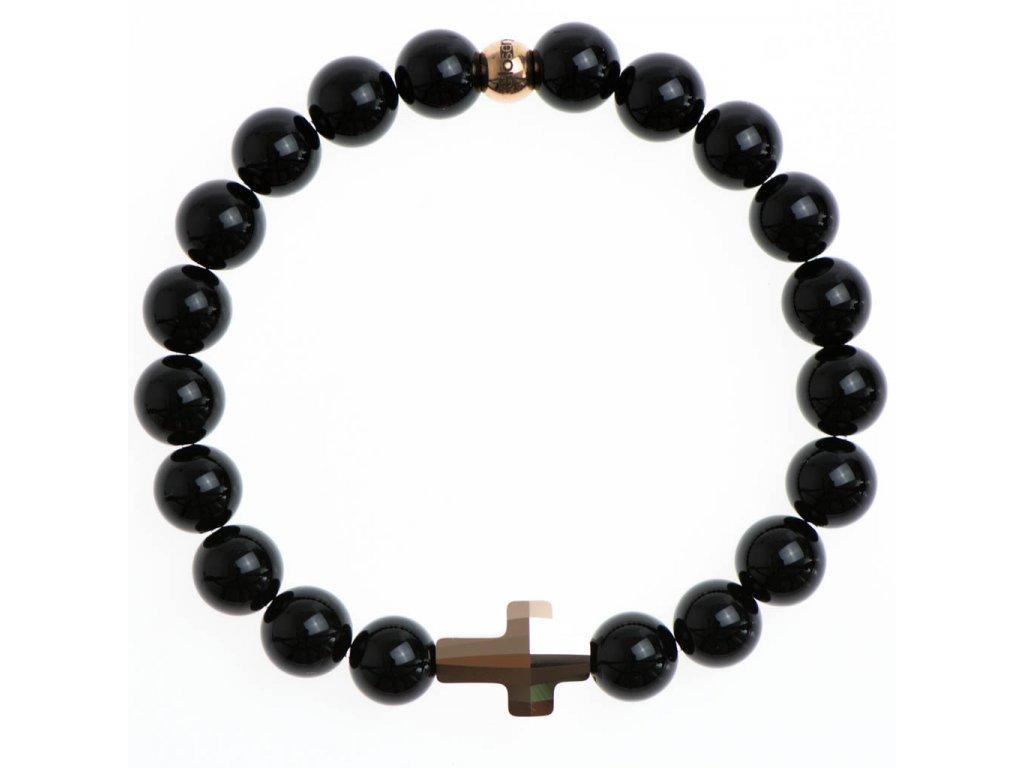 Glosery náramok s lesknúcim krištáľom v tvare krížika od Swarovski®, lesklý / matný čierny achát 4-10mm