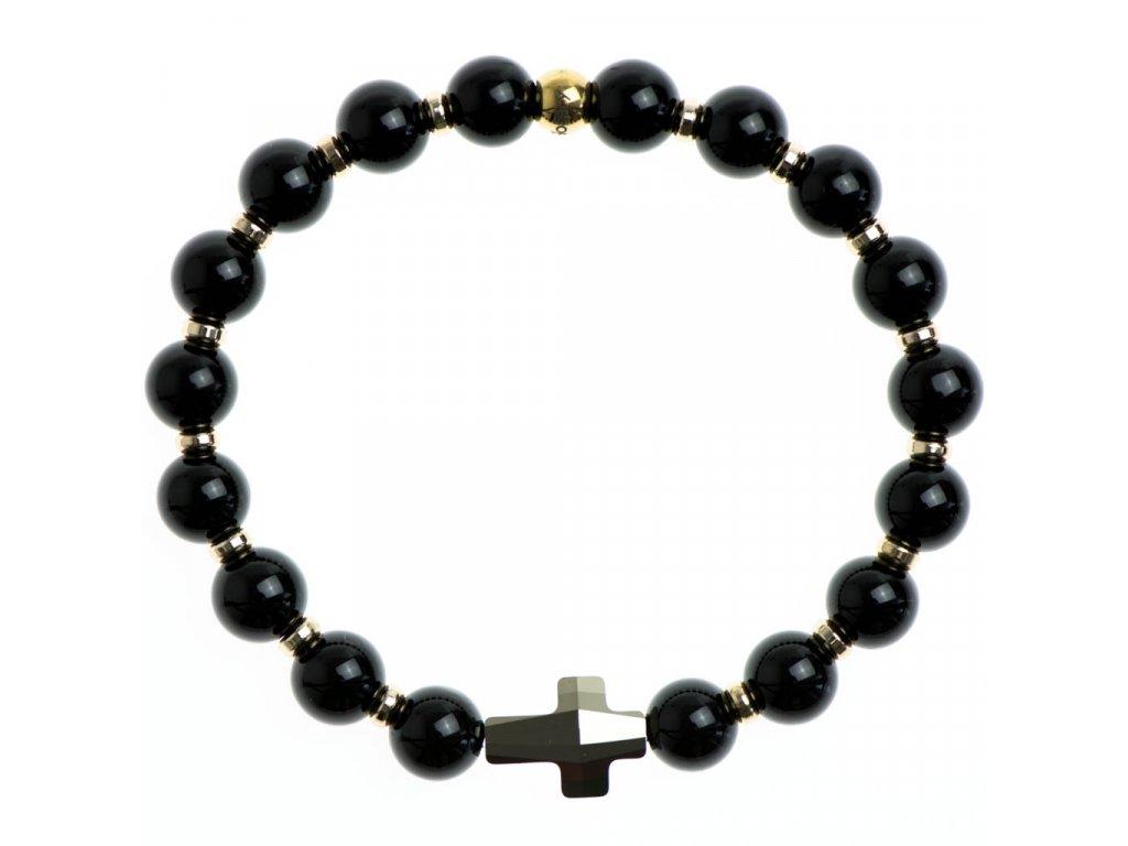 Glosery wrap náramok zdobený krištáľom Swarovski® krížik zlatý, stopery, lesklý / matný čierny achát 6-8mm