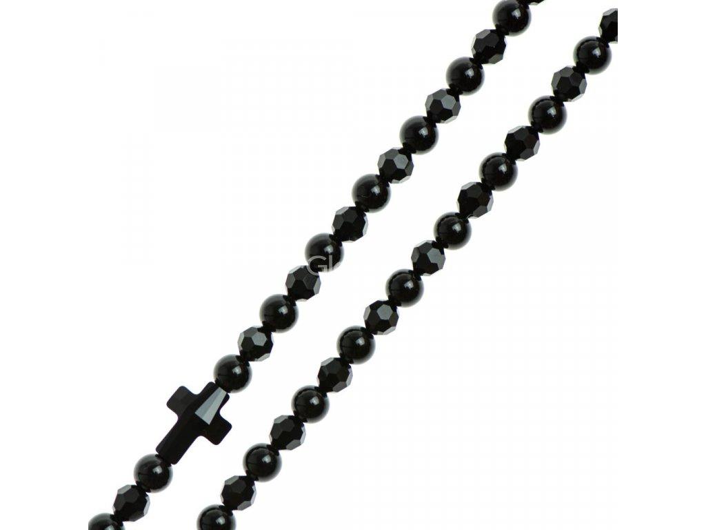 Glosery náhrdelník s lesknúcim krištáľom v tvare krížika a disko guľami od Swarovski®, lesklý / matný čierny achát 4-6mm