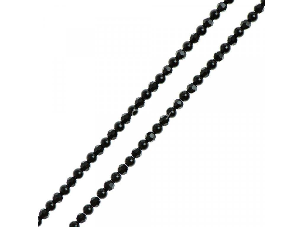 Glosery náhrdelník s lesknúcimi krištáľmi disko guľami od Swarovski®, lesklý / matný čierny achát 4-6mm